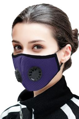 紫色日常防护双呼吸阀活性炭口罩