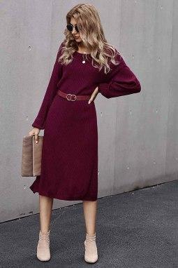 红色罗纹中长毛衣裙