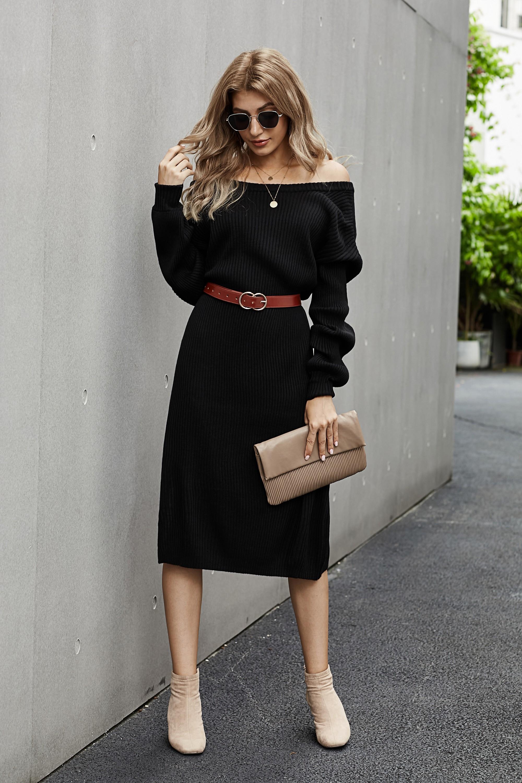 黑色罗纹中长毛衣裙 LC273003