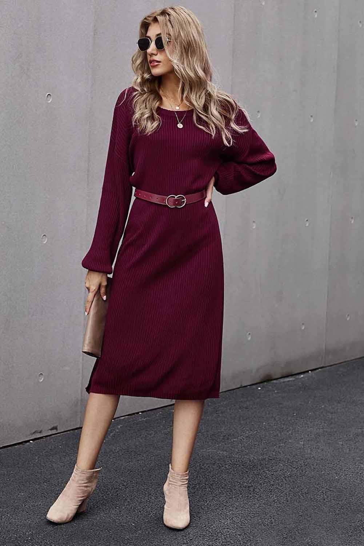 红色罗纹中长毛衣裙 LC273003