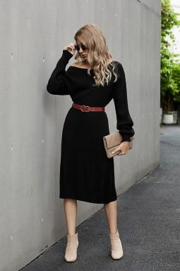 黑色罗纹中长毛衣裙