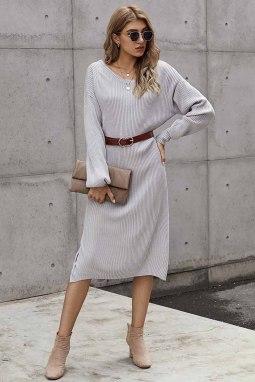 灰色罗纹中长毛衣裙