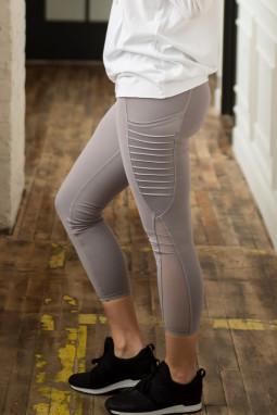 淡雅浅紫网纱拼接侧口袋瑜伽运动健身紧身裤