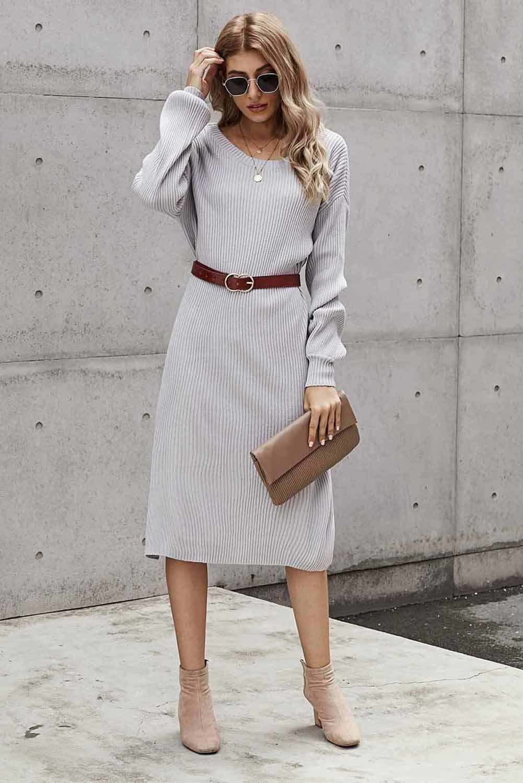 灰色罗纹中长毛衣裙 LC273003