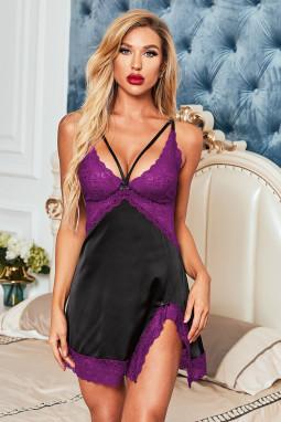 紫色蕾丝拼接缎面性感侧开衩娃娃装睡裙