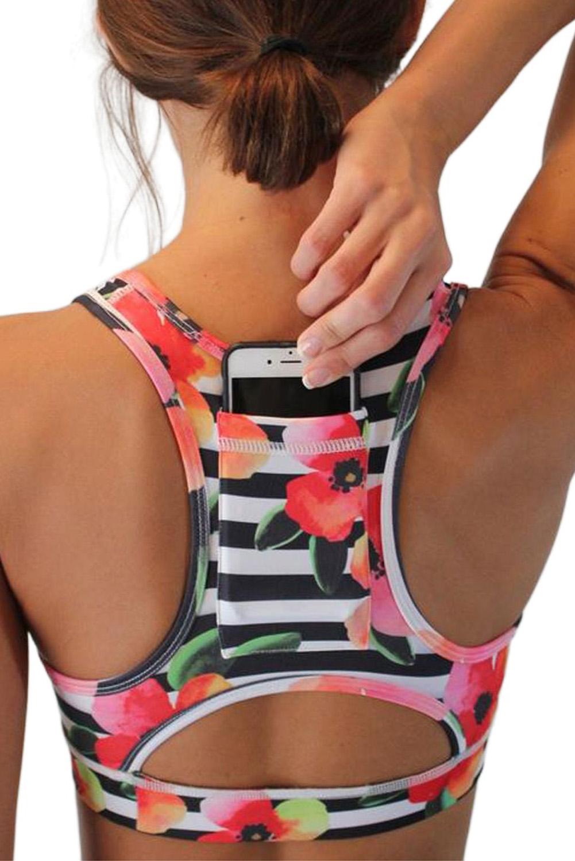 条纹花卉别致后袋运动背心文胸 LC262001