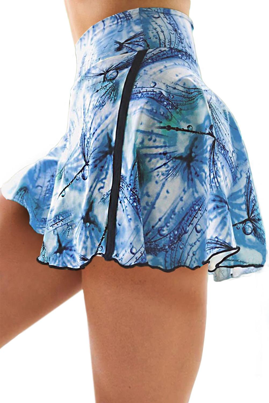 蓝色扎染双层高腰跑步瑜伽运动裤裙 LC263204