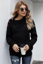 黑色秋季休闲纽扣细节保暖舒适毛衣