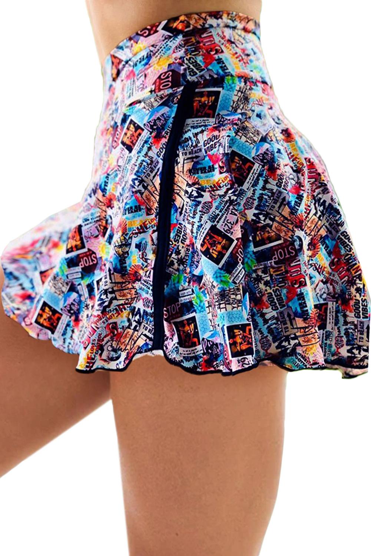 时尚印花双层高腰跑步瑜伽运动裤裙 LC263204