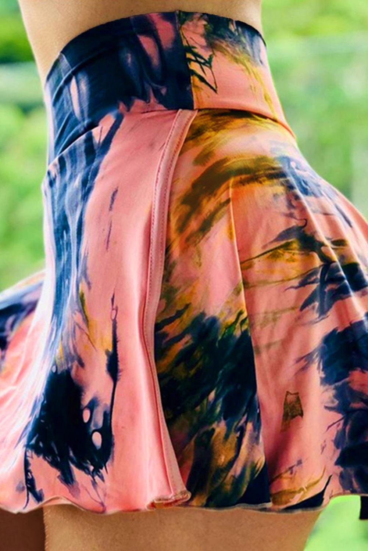 粉色扎染双层高腰跑步瑜伽运动裤裙 LC263204