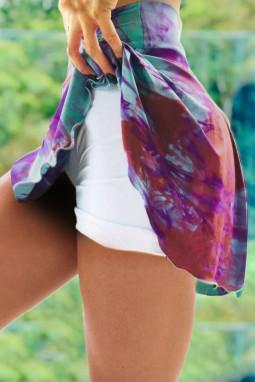 醒目扎染双层高腰跑步瑜伽运动裤裙