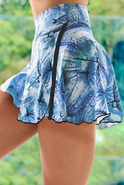 蓝色扎染双层高腰跑步瑜伽运动裤裙