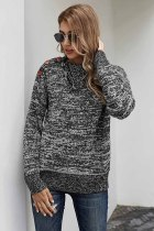 灰色秋季休闲纽扣细节保暖舒适毛衣
