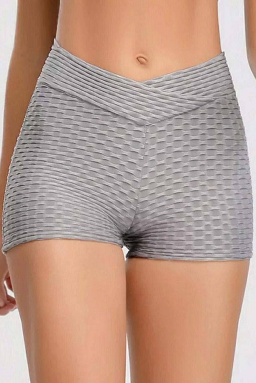 灰色别致肌理高腰健身跑步运动短裤 LC26086