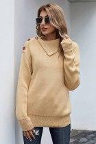 秋季休闲纽扣细节保暖舒适毛衣