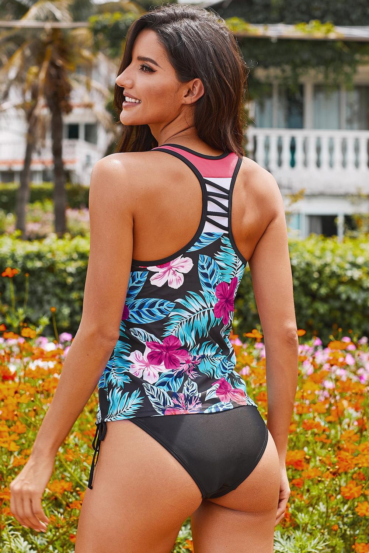 黑色花卉印花工字背透气舒适泳衣上衣 LC412302