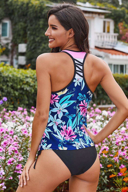 蓝色花卉印花工字背透气舒适泳衣上衣 LC412302