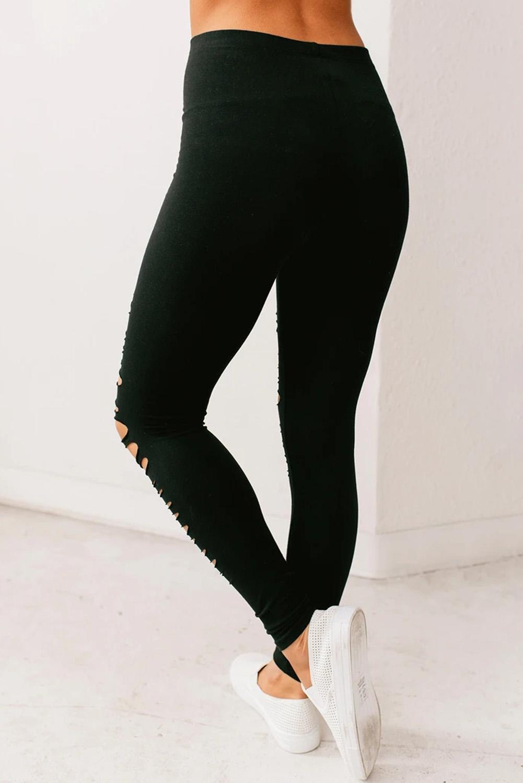黑色别致割裂破洞高腰弹力舒适打底裤 LC76014