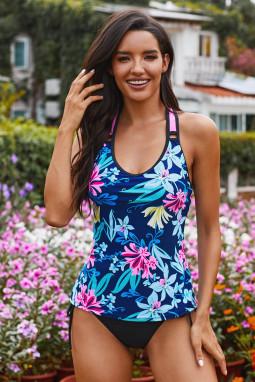 蓝色花卉印花工字背透气舒适泳衣上衣