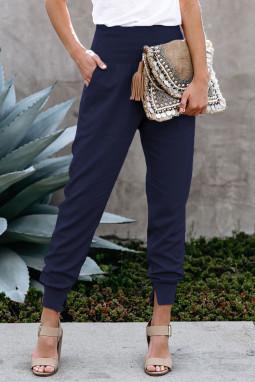 深蓝色侧口袋宽腰束脚开衩细节休闲运动裤