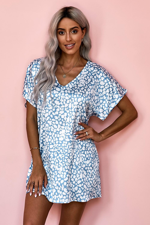 蓝色V领半袖斑纹印花休闲带口袋T恤式连衣裙 LC22514