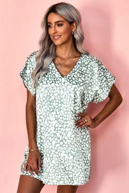 灰绿色V领半袖斑纹印花休闲带口袋T恤式连衣裙
