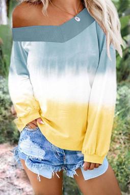 天蓝黄色渐变扎染圆领长袖套衫