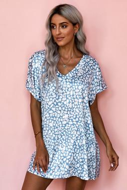 蓝色V领半袖斑纹印花休闲带口袋T恤式连衣裙