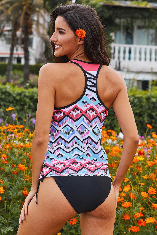 多色波浪印花工字背透气舒适泳衣上衣 LC412302