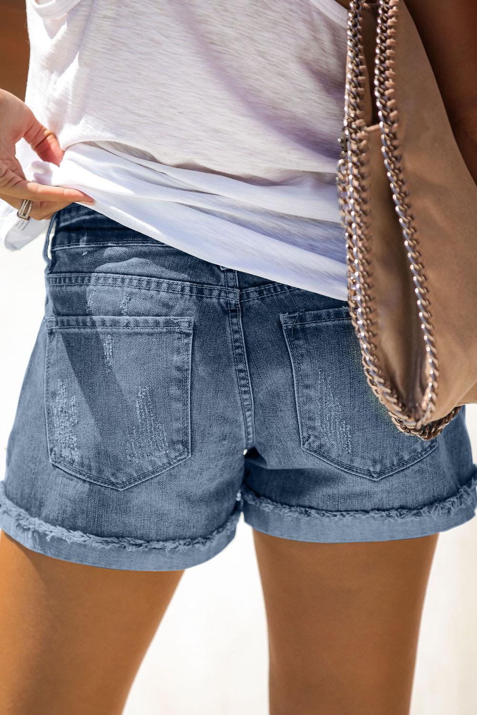 仿旧翻边磨损蓝色牛仔短裤 LC77173