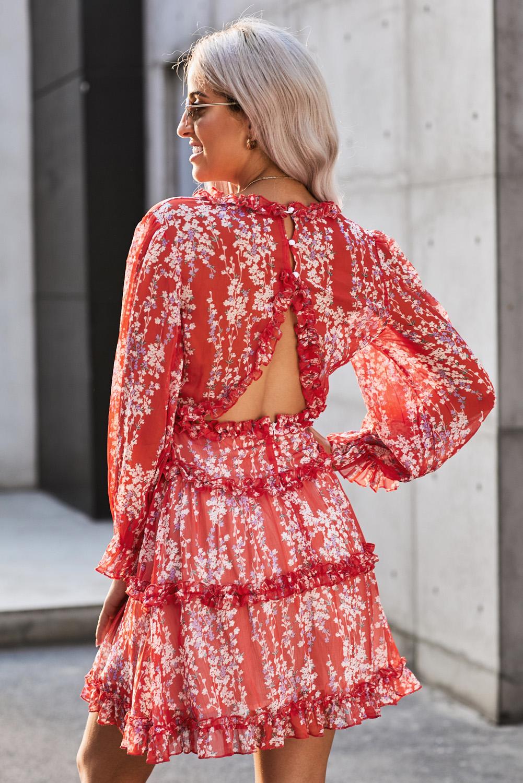 红色V领优雅荷叶边精美印花开背连衣裙 LC220829