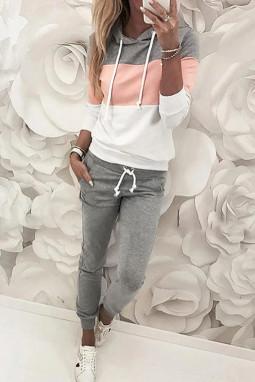 粉色拼色连帽抽绳上衣裤子运动休闲套装