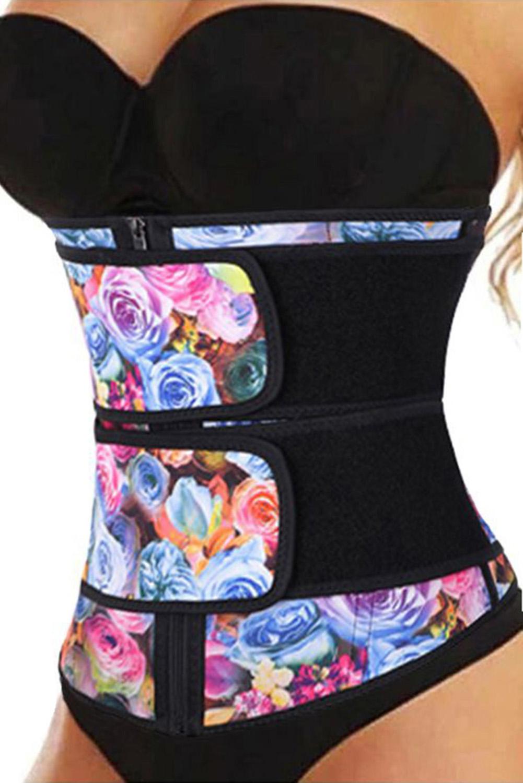 花卉印花氯丁橡胶腰部训练器4钢骨拉链塑身衣 LC51076