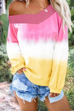 粉红黄色渐变扎染圆领长袖套衫