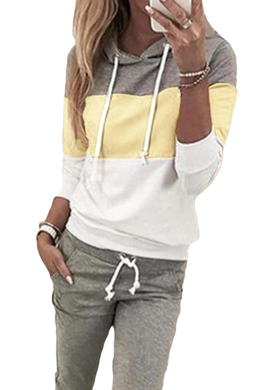 淡黄拼色连帽抽绳上衣裤子运动休闲套装 LC62218