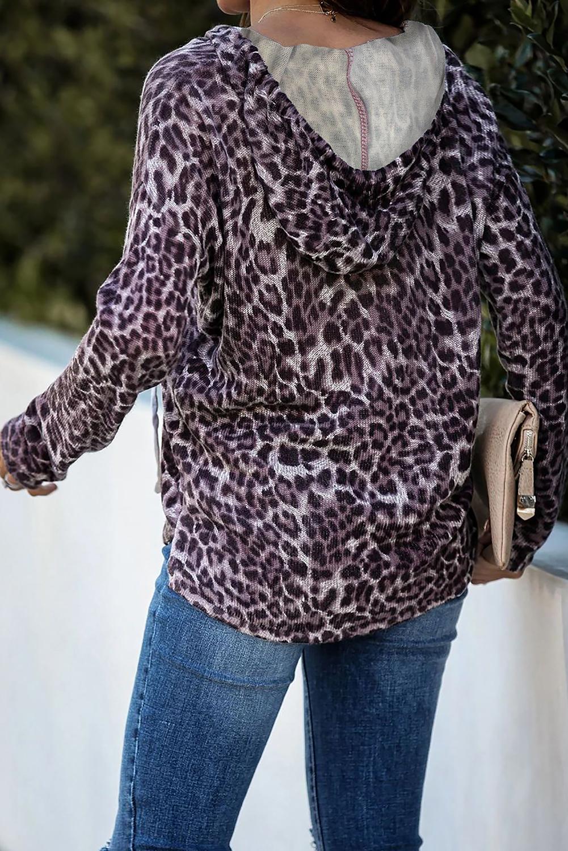 紫色豹纹休闲宽松长袖连帽衫 LC253747