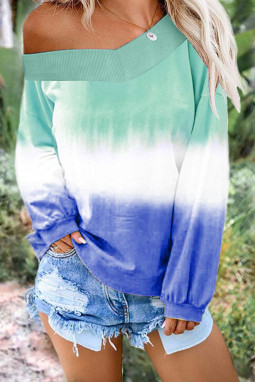 浅绿蓝色渐变扎染圆领长袖套衫