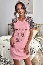 粉色字母印花圆领豹纹短袖休闲家居睡裙