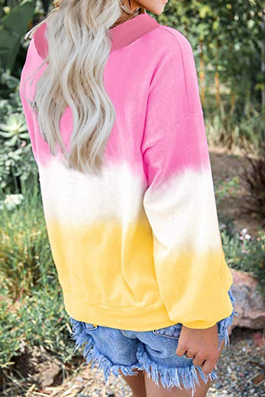 粉红黄色渐变扎染圆领长袖套衫 LC2511374