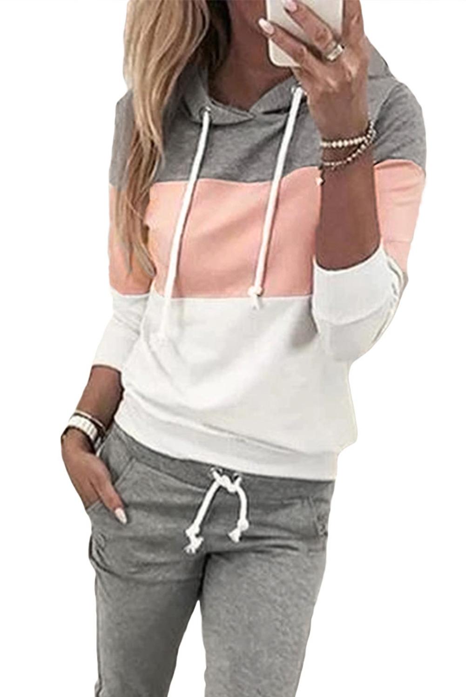 粉色拼色连帽抽绳上衣裤子运动休闲套装 LC62218