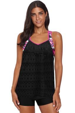 黑色镂空网布拼接印花单上衣泳衣