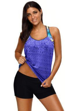 紫蓝色镂空网布拼接印花单上衣泳衣