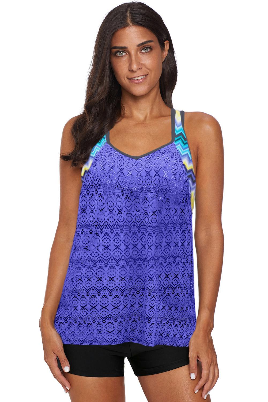 紫蓝色镂空网布拼接印花单上衣泳衣 LC411909