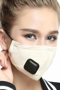 米色呼吸阀日常防尘PM2.5流感口罩带2个过滤垫片