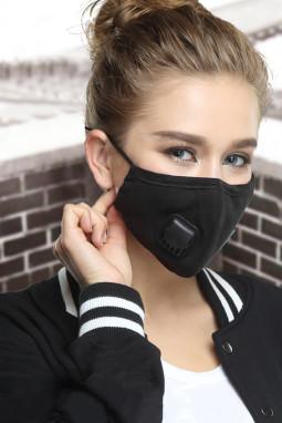 黑色呼吸阀日常防尘PM2.5流感口罩带2个过滤垫片