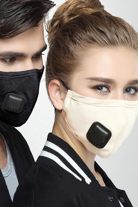 米色呼吸阀日常防尘PM2.5流感口罩带2个过滤垫片 KZ193