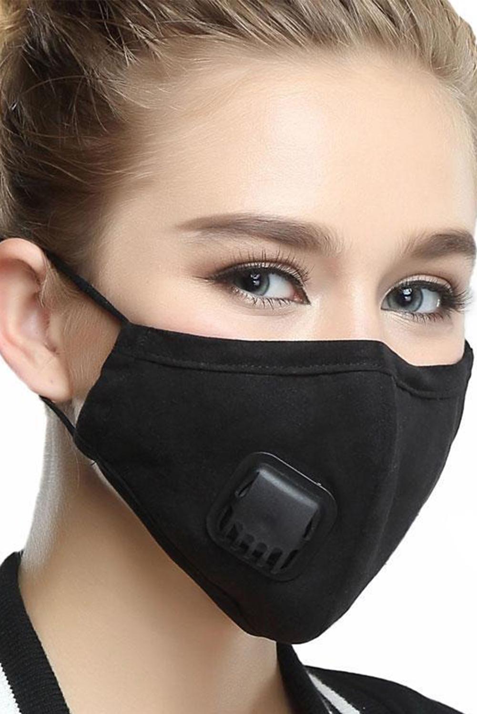 黑色呼吸阀日常防尘PM2.5流感口罩带2个过滤垫片 KZ193