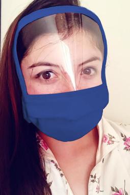 蓝色可重复使用可水洗全覆盖防护口罩