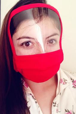 红色可重复使用可水洗全覆盖防护口罩