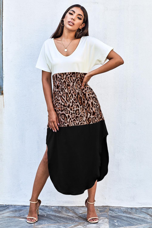 黑色色块豹纹拼接宽松休闲T恤式长裙 LC61824